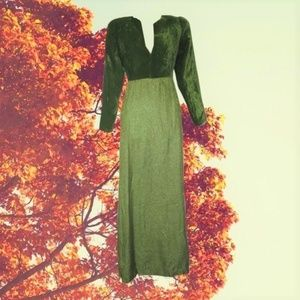 1960s vintage green velvet metallic maxi dress xs